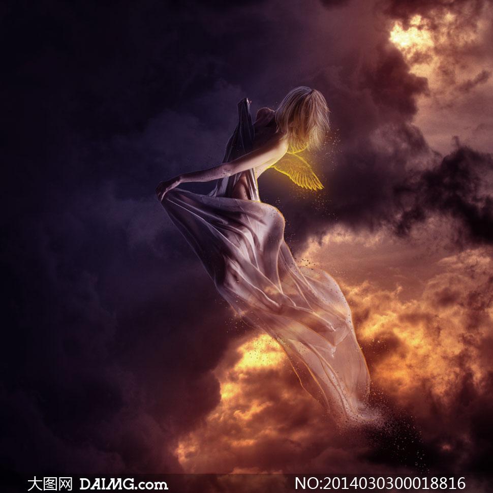 合成在空中飞舞的女神PS教程素材
