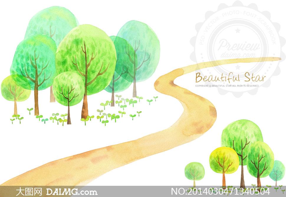 水彩树木小路插画设计psd分层素材