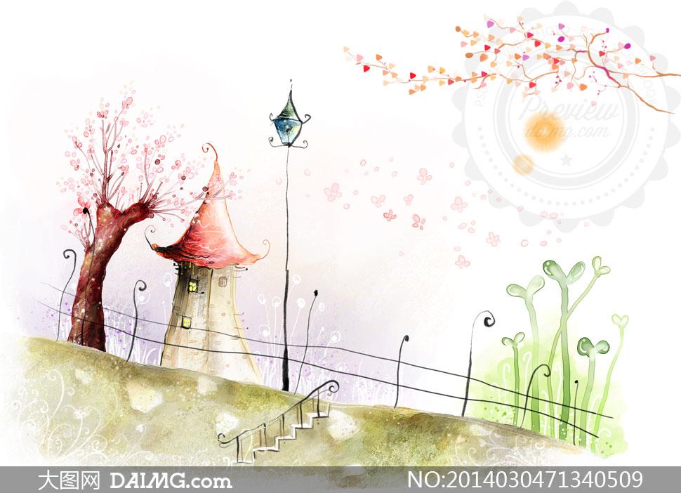 画卡通树木大树树枝房子房屋枝桠枝丫植物栏杆护栏