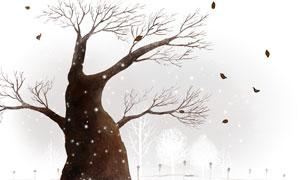 叶子凋零的树插画设计PSD分层素材