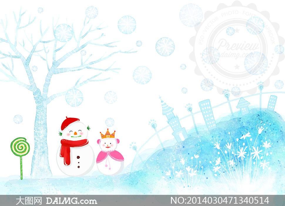 插画卡通树木大树房子房屋楼房雪人可爱棒棒糖花草花丛草丛蓝色雪花