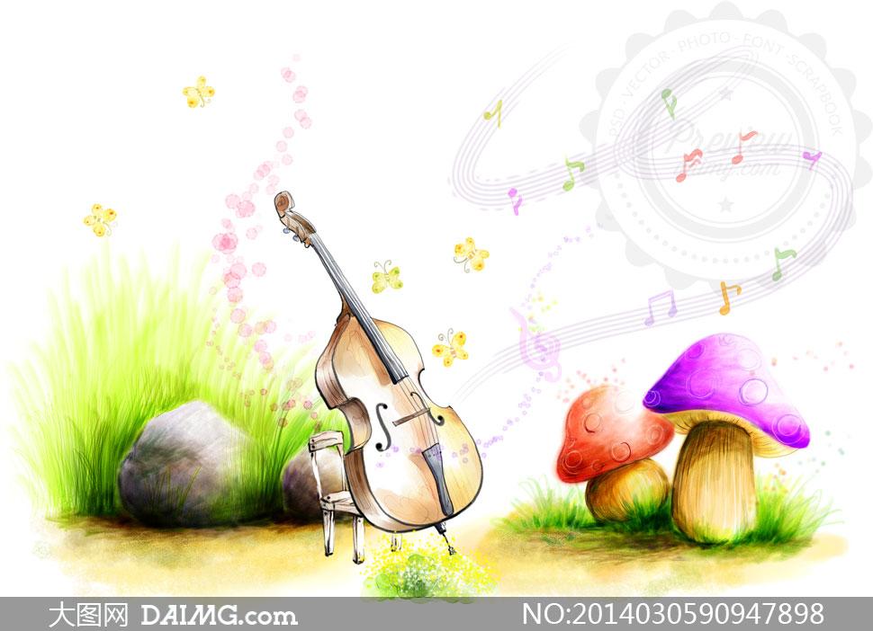 大提琴与草丛里的石头psd分层素材