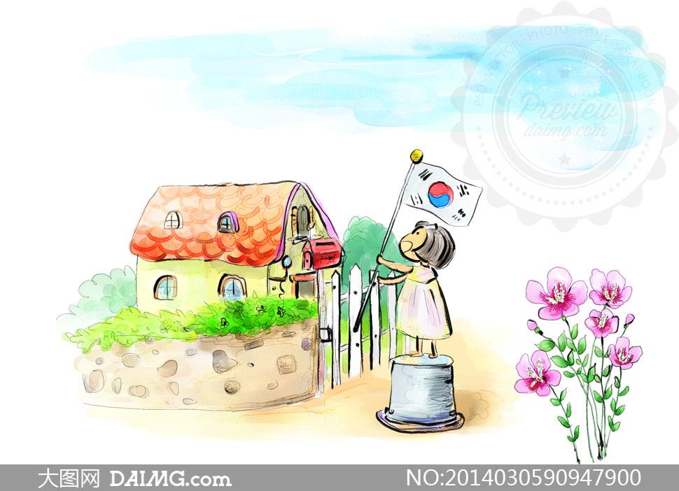 卡通小女孩儿童国旗花朵花卉鲜花植物篱笆栅栏房子