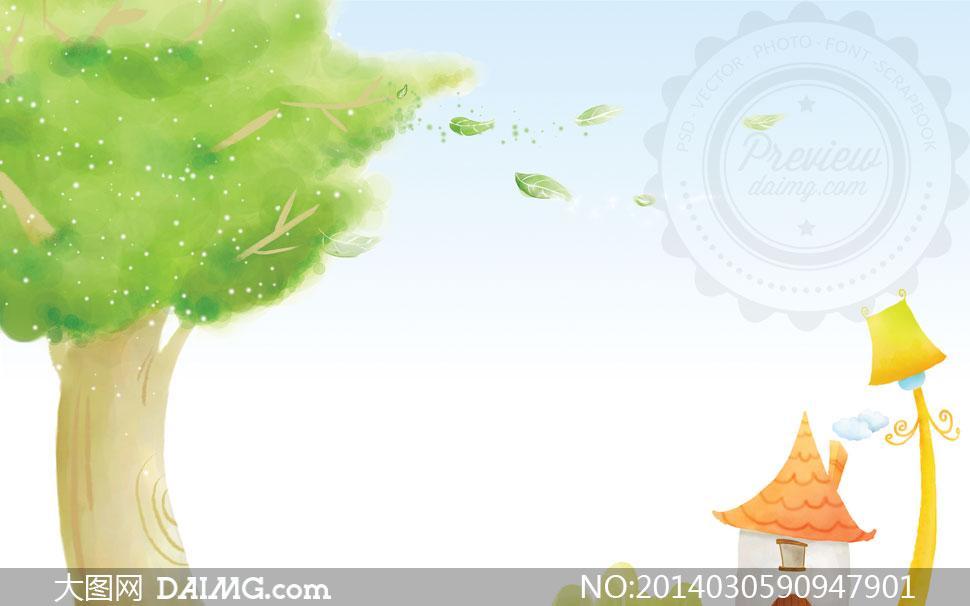设计插画卡通叶子绿叶树叶大树树木路灯房子房屋花草鲜花花朵花卉草地
