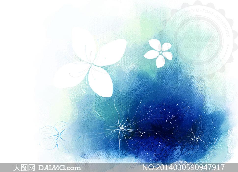 分层素材韩国素材tua创意设计插画手绘水彩花朵绿色棕色红色黄色蓝色