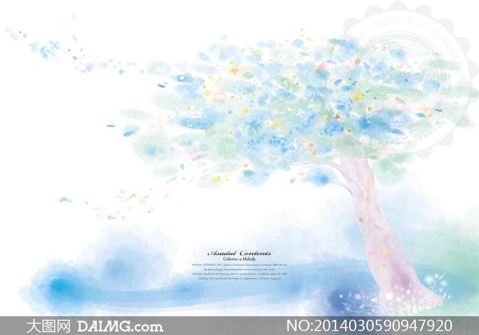 手绘水彩大树树木