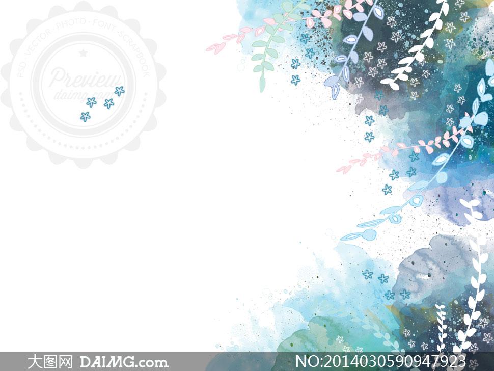 水彩背景与藤蔓装饰等psd分层素材