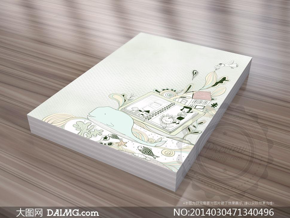 素材韩国素材tua创意设计插画手绘小鸟房子房屋线圈本活页本鲸鱼游鱼