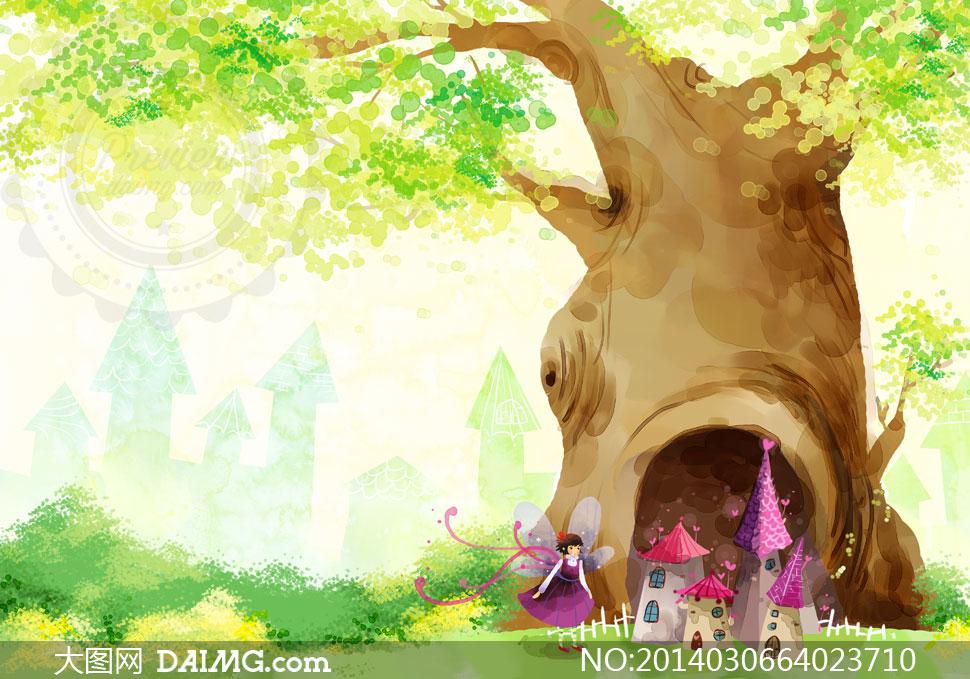psd分层素材韩国素材tua创意设计插画卡通房子房屋梦幻大树树木绿叶