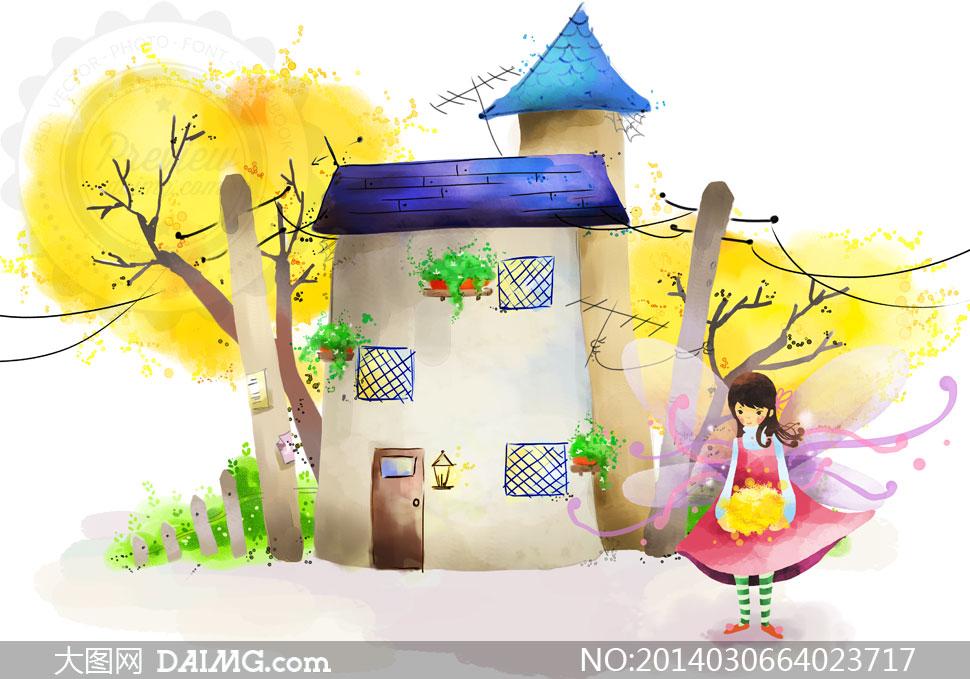 卡通小孩儿童女孩翅膀电线杆房子房屋水彩篱笆栅栏