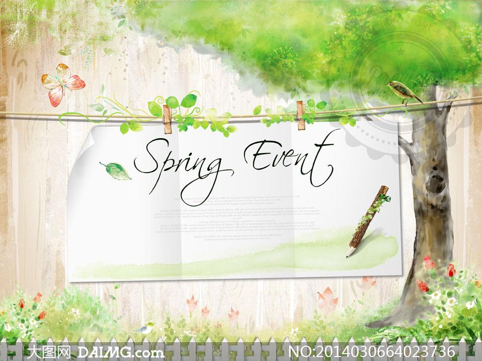 psd分层素材韩国素材tua创意设计插画卡通树木大树