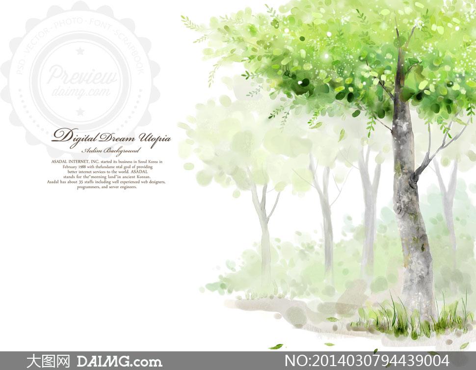 创意设计插画卡通树木大树绿色叶子树叶绿叶草丛青草水彩唯美清新春天