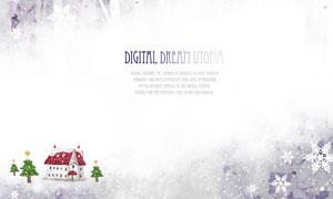 树木雪花房子插画设计PSD分层素材