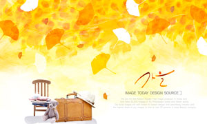银杏树叶与椅子皮箱等PSD分层美高梅娱乐