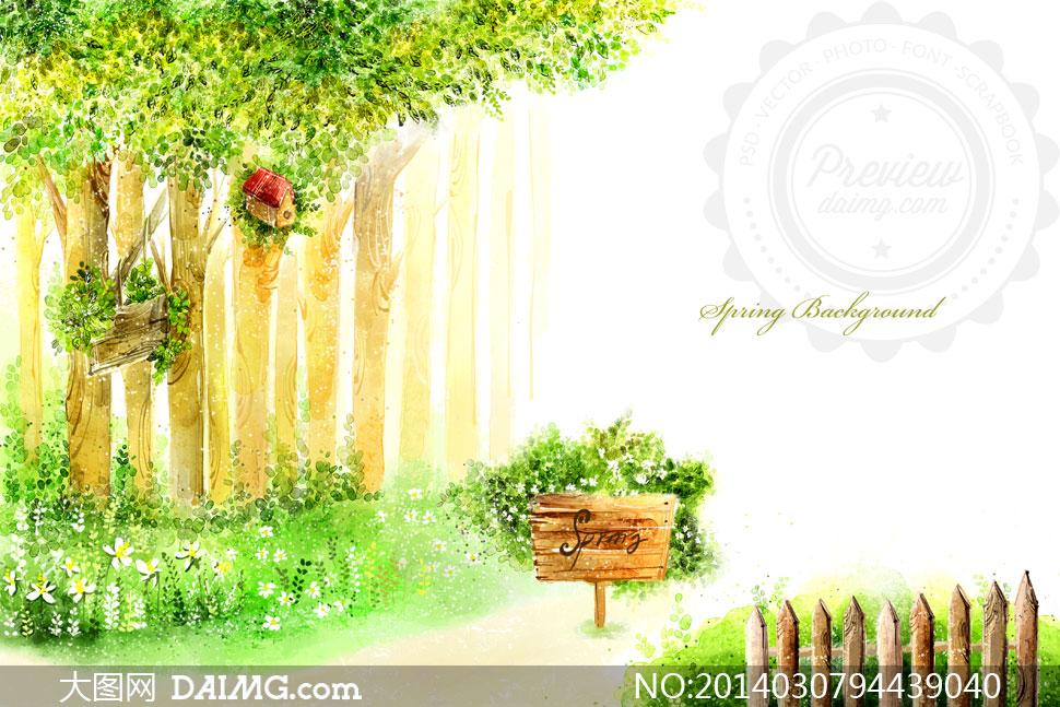 在树下的花草木牌插画psd分层素材