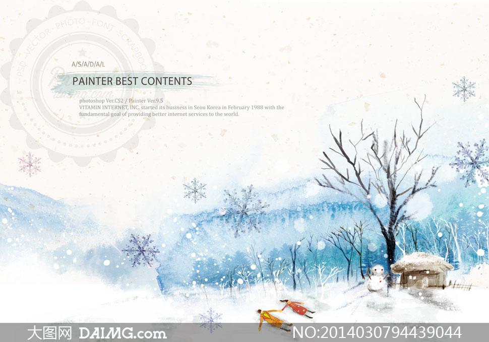 冬天树木雪天风光插画psd分层素材