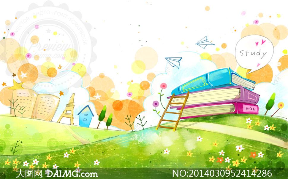 psd分层素材韩国素材tua创意设计卡通插画手绘田野田园田地小路梯子木