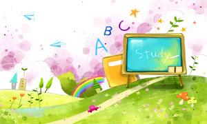 彩虹黑板等物卡通插画PSD分层素材