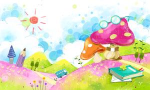山坡上的蘑菇卡通插画PSD分层素材
