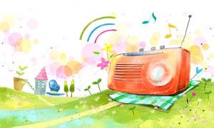 格子布上的收音机插画PSD分层素材
