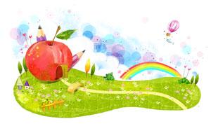 草地上的苹果房子创意PSD分层素材