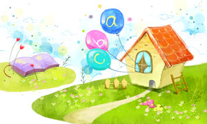 房子气球与书本等插画PSD分层素材