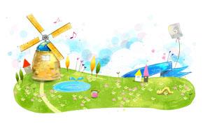 草地上的风车卡通创意PSD分层素材