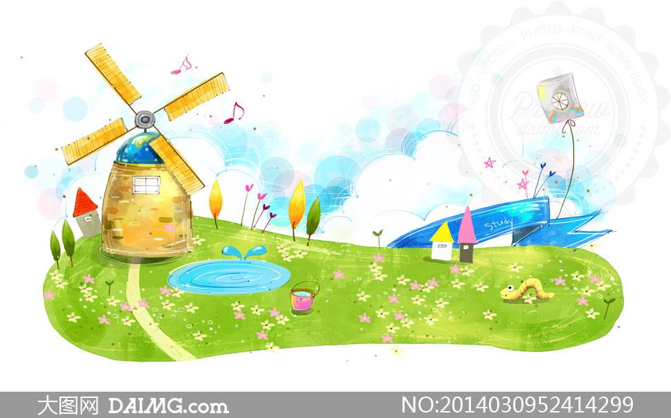 风车动漫_草地上的风车卡通创意psd分层素材
