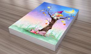在树上的房子创意插画PSD分层素材