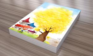树木房子与小朋友插画PSD分层素材