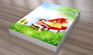 在弹钢琴的小女孩插画PSD分层素材