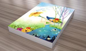 花朵与女孩等创意插画PSD分层素材