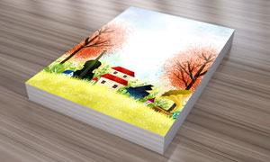 树木房子与乐器等插画PSD分层素材