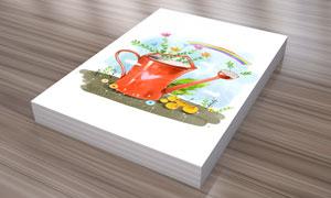彩虹植物与洒水壶创意PSD分层素材