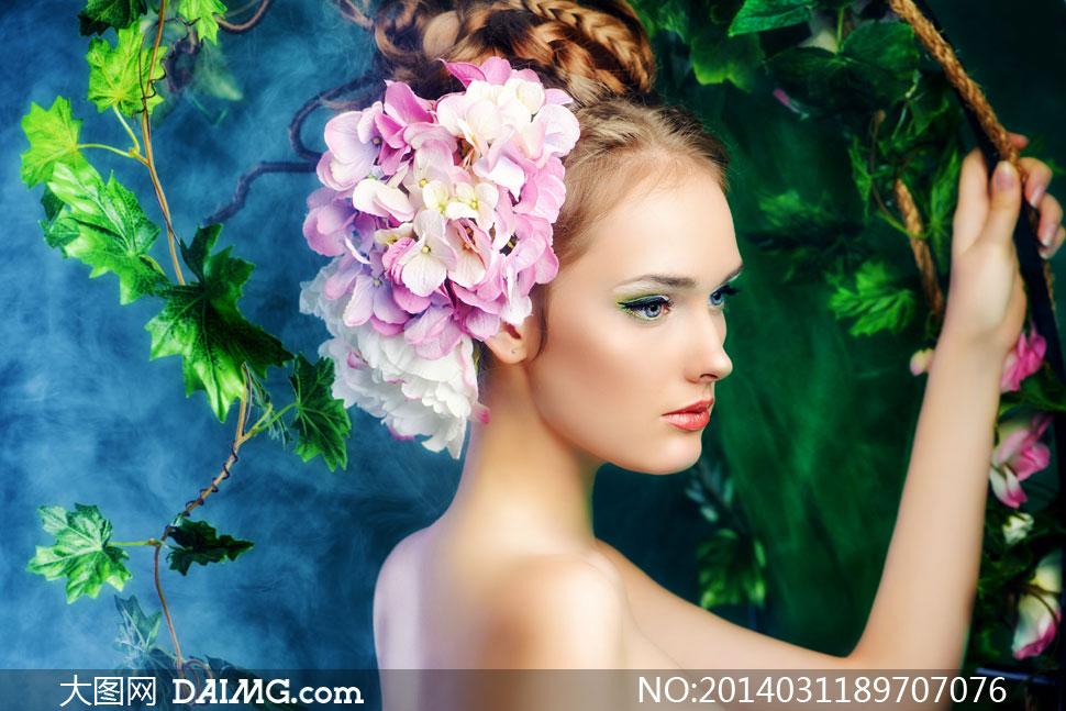 高清摄影大图图片素材人物欧美美女女人女性模特头饰饰品花饰花瓣