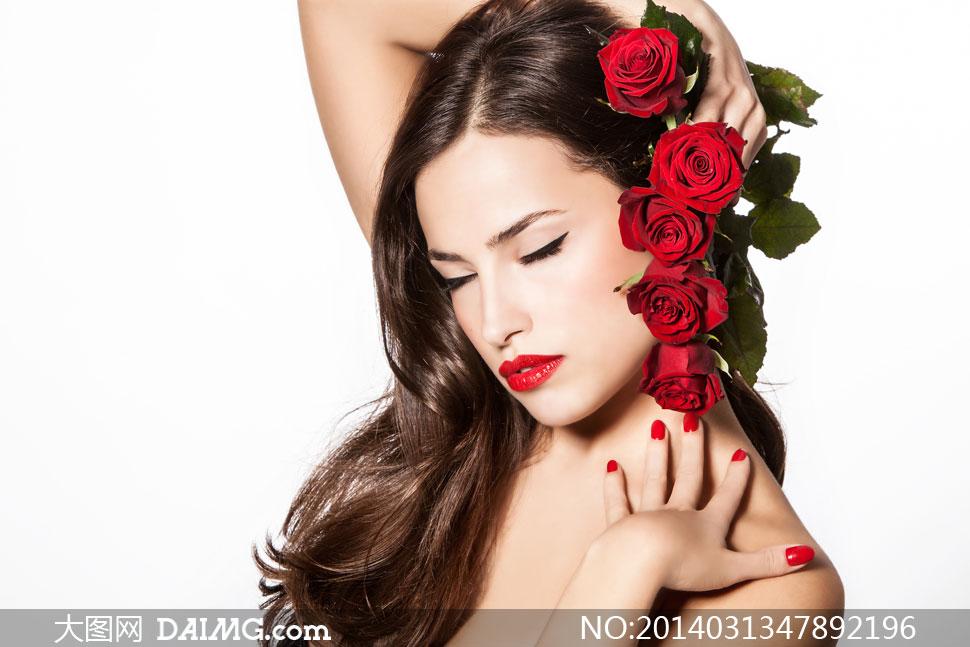 红色的玫瑰花头饰美女摄影高清图片