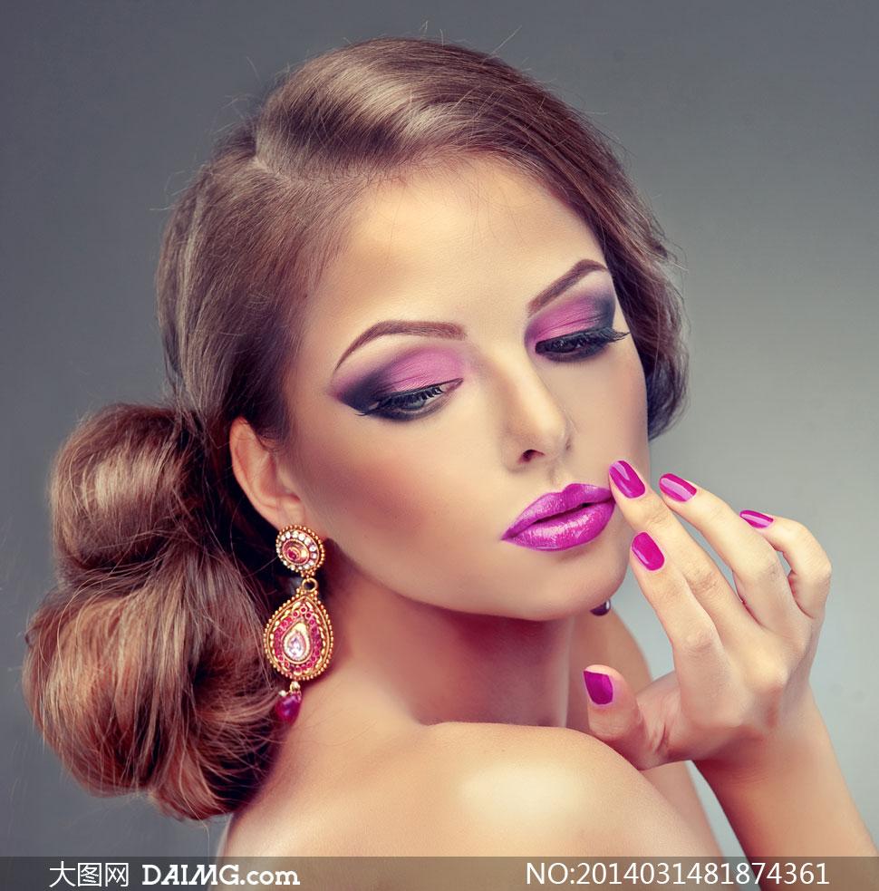 欧美模特美女女人女性发型头发长发秀发眼妆彩妆妆容
