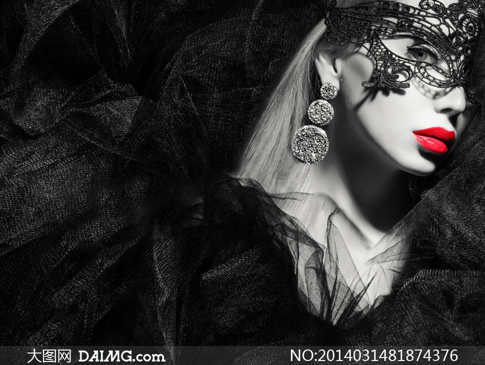 美女女人女性头发长发秀发首饰饰品耳饰假面面具黑色