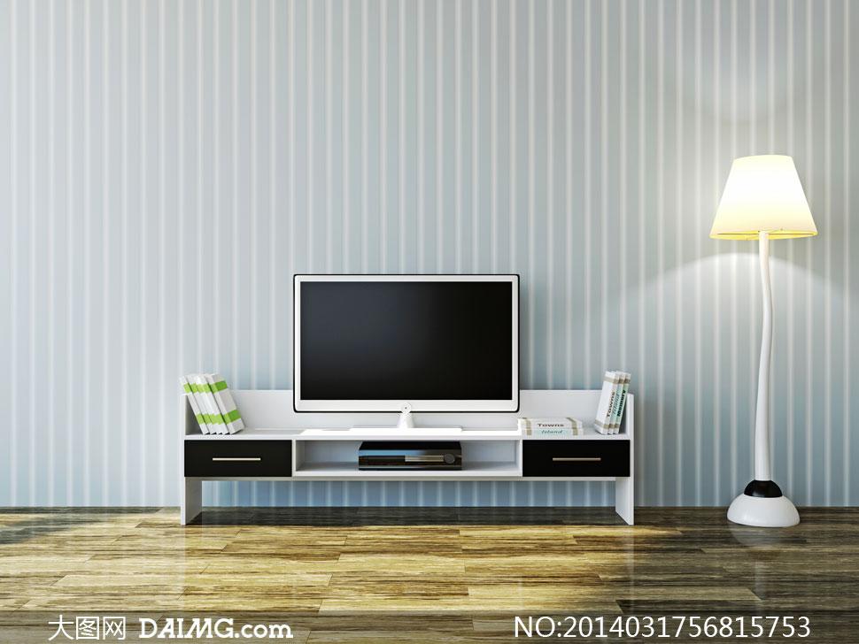 效果图陈设摆设陈列内景家具电视机电视柜肉的书本木地板墙壁墙面灯光