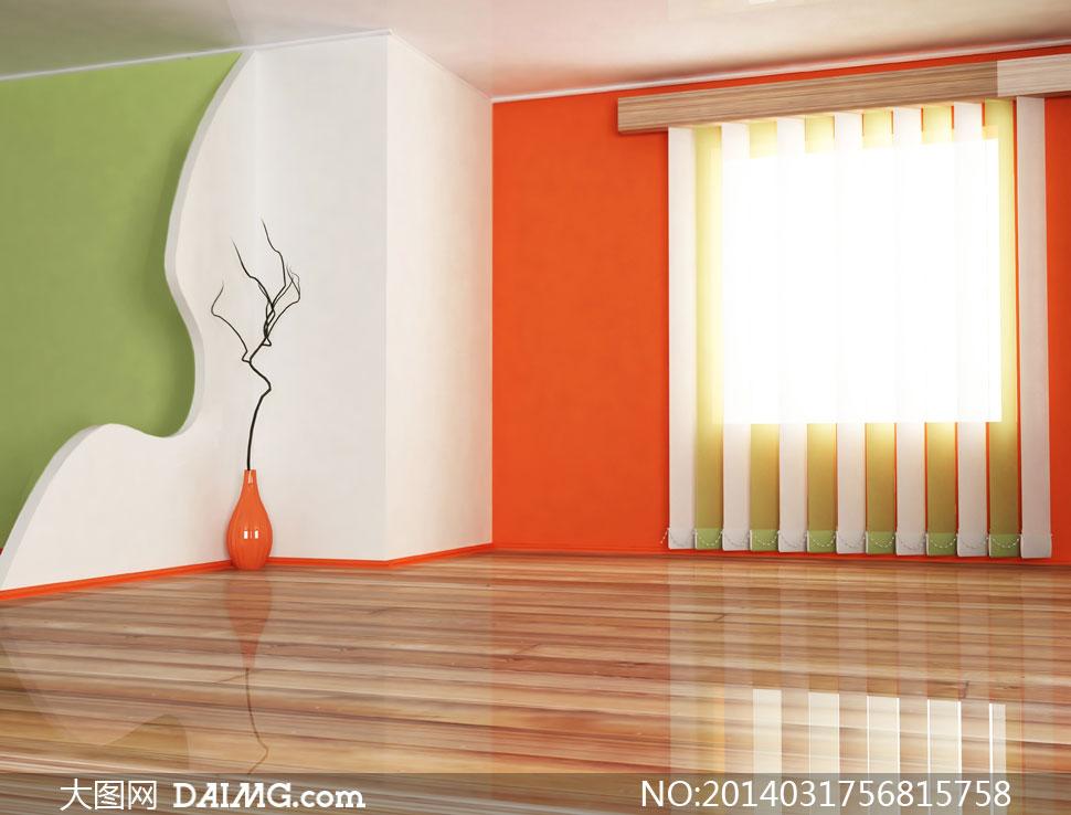 室内空间装饰家装渲染图家居效果图陈设摆设陈列内景木地板创意设计