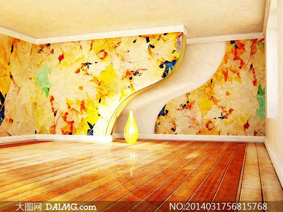 效果图陈设摆设陈列内景瓶子木地板墙壁墙面创意设计