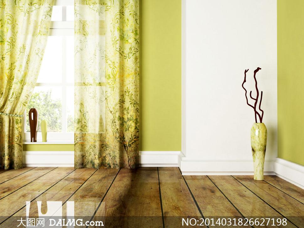 窗户窗帘与干枝装饰等高清图片