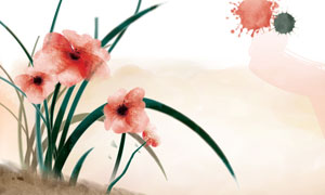红色花朵植物与墨迹等PSD分层素材