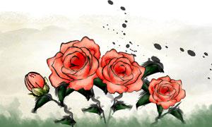 墨迹喷溅效果与玫瑰花PSD分层素材