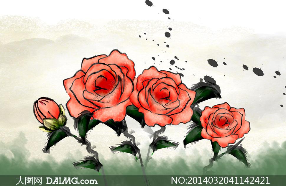 素材韩国素材krtk手绘植物插画插图花朵花卉墨迹墨痕喷溅红玫瑰玫瑰花