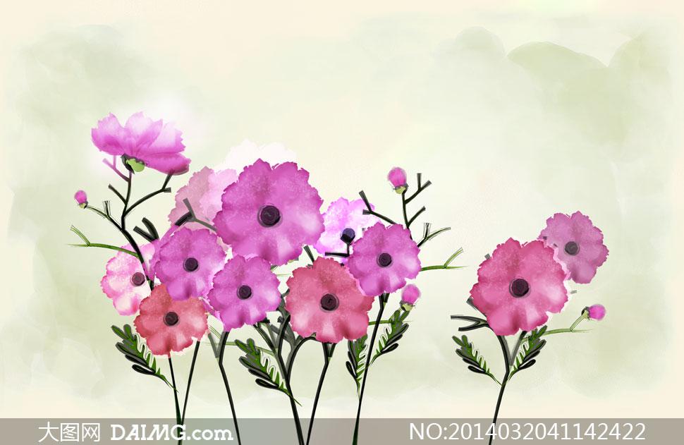 关键词: psd分层素材韩国素材krtk手绘植物插画插图花朵花卉墨迹墨痕
