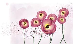 花卉植物與水彩圓點等PSD分層素材