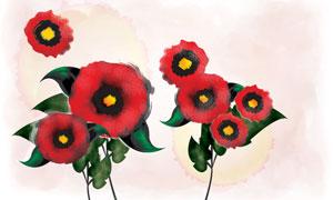 紅色花朵與墨痕背景等PSD分層素材