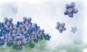 藍色花朵與水彩風背景PSD分層素材