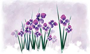手繪風格花卉植物圖案PSD分層素材